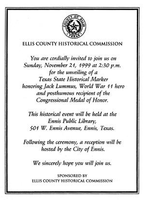 library historical marker invitation